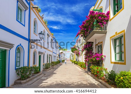 Architecture of Puerto de Mogan, a small fishing port on Gran Canaria, Spain. - stock photo