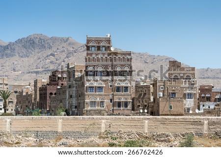 Architecture of Sana'a, the capital of Yemen. - stock photo