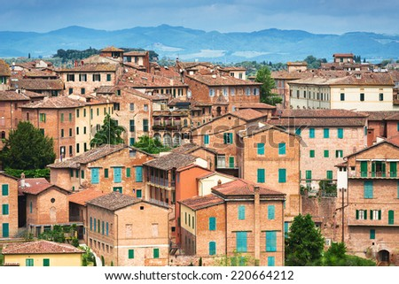 Architecture of Sienna city, Italy - stock photo