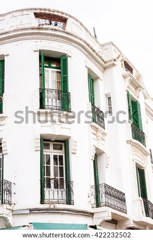 Architecture of Tetouan, a city in northern Morocco.  Tetouan is one of the two major ports of Morocco on the Mediterranean Sea.