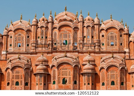 Architecture of the famous Hawa Mahal or Palace of the Winds.