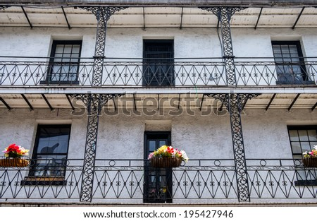Architecture of the French Quarter in New Orleans, Louisiana. - stock photo