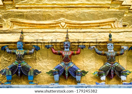 Architecture of the Grand Palace, in  Bangkok, Thailand - stock photo