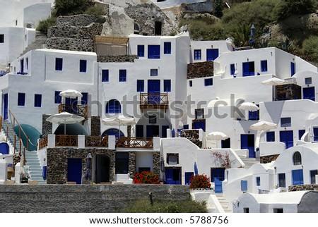 Architecture on Santorini island, Greece - stock photo