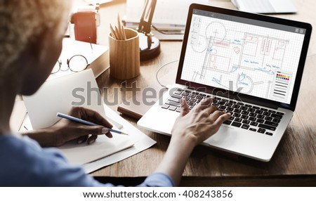 Architecture Plan Blueprint Layout Work Concept - stock photo