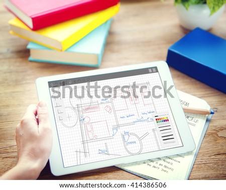 Architecture Plan Blueprint Layout Work Concept - stock photo