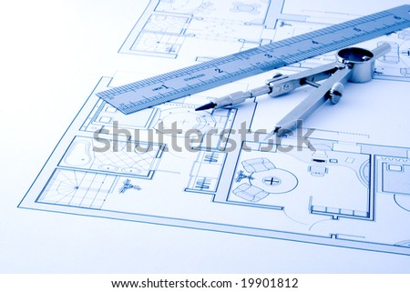architecture plan draw & drawing instruments - stock photo