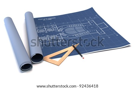Architecture planning of interiors design on paper. 3d render - stock photo