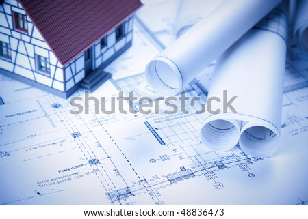 Architecture plans, home project in blue - stock photo
