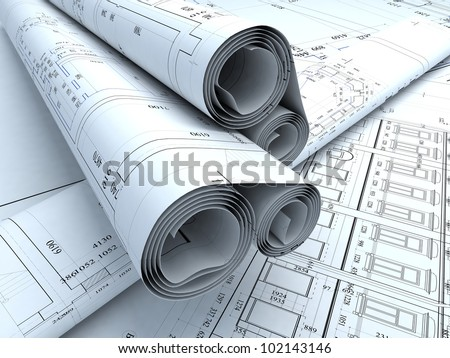 Architecture plans in auto cad - stock photo