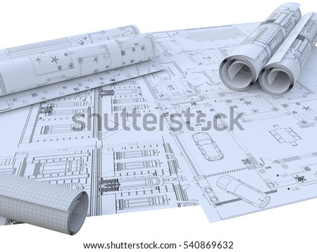 Architecture Project Plan Drawing Paper Stock Illustration
