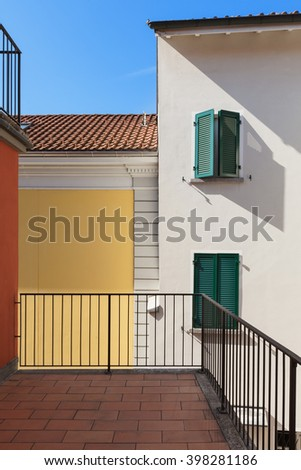 Architecture, terrace of a red house, exterior