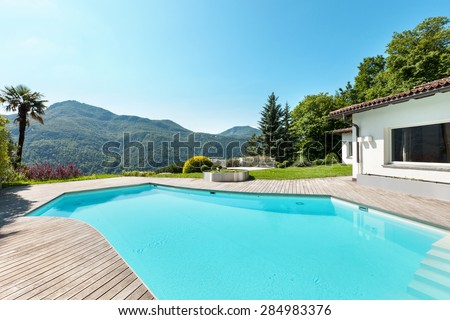 Architecture, villa with swimming pool, outdoors