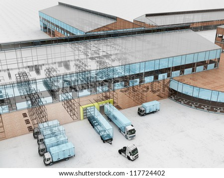 Architecture visualization of plant with offices and cargo service - stock photo