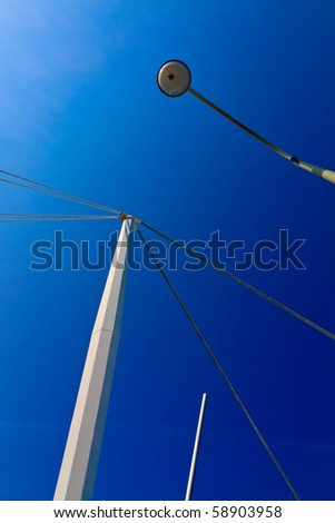 Architecture: White pillar with blue skies