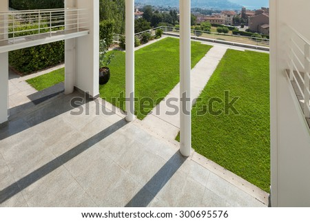 Architecture, wide veranda of a modern house, top view - stock photo