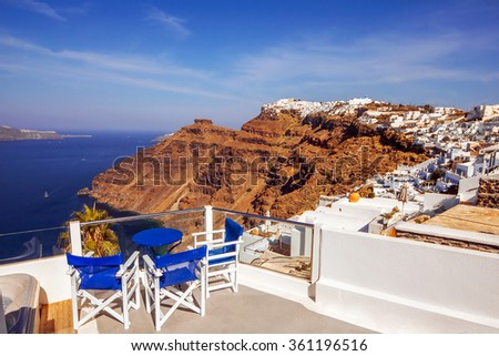 Architecture with a sea view in Fira village, Santorini - stock photo