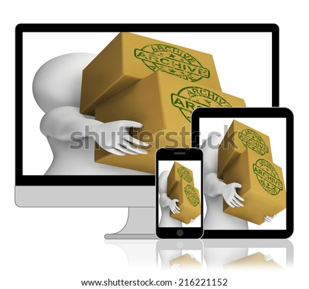 Archive Boxes Displaying Organising And Storing Data - stock photo