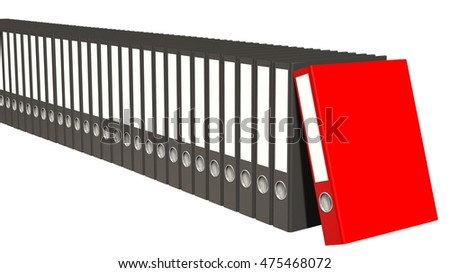 Archive concept - File folders or ring binders full with office documents isolate on white background - 3d render