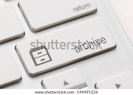 archive enter button key on white background