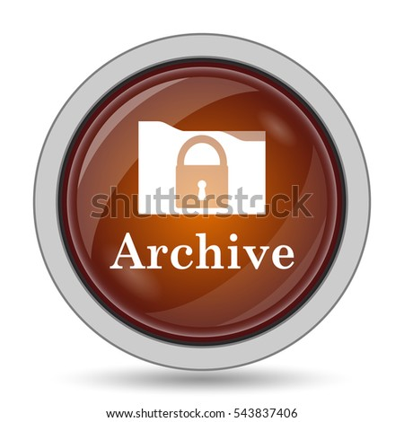 Archive icon, orange website button on white background.