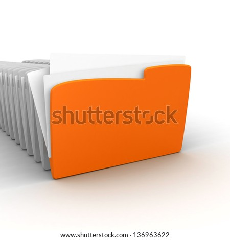 Archive. Many folders on white isolated background.  Data, folder . Yellow computer folder on a white background. 3d illustration. Business concept and security concept