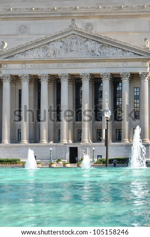 Archives of the United States Building and reflection on the pool - Washington DC - stock photo