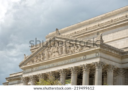 archives of united states in washington DC - stock photo