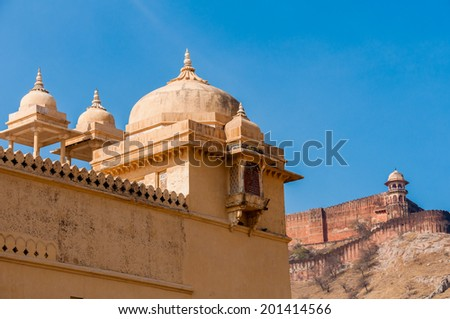 Archtictural detail of Amber Fort Jaipur - stock photo