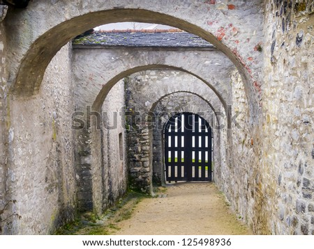 Archway of a castle in winter with wooden gate - stock photo