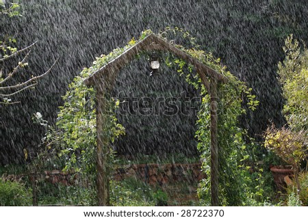Archway with summer rains - stock photo