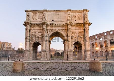 Arco di Costantino - Costantine's Arc near Colosseum - Roma - Italy - stock photo