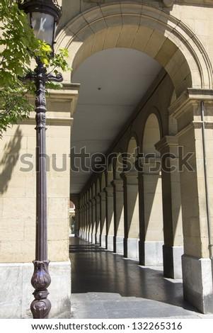 arcs on a street in San Sebastian, Spain - stock photo