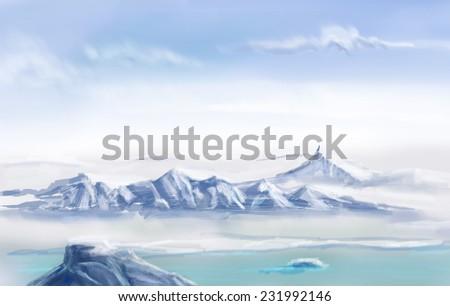 Arctic desert, digital drawing - stock photo