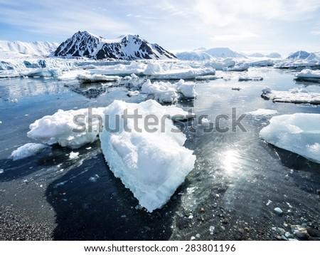 Arctic glacier landscape - Spitsbergen - stock photo