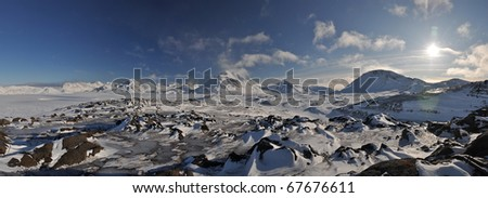 Arctic landscape during winter, Greenland, panorama - stock photo
