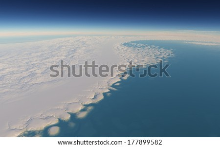 Arctic landscape. View from space. Fantastic exoplanet. - stock photo