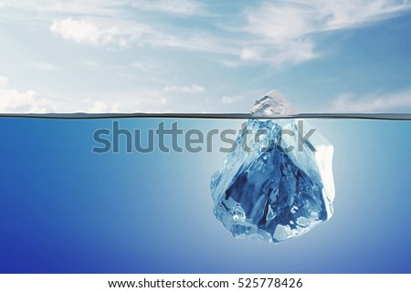 Arctic Landscape with Underwater Iceberg in the Ocean or Sea. 3D Rendering