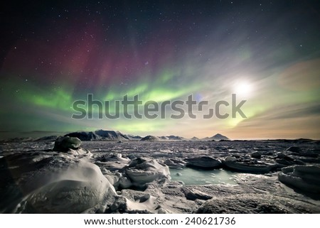Arctic magical landscape with Northern Lights - stock photo