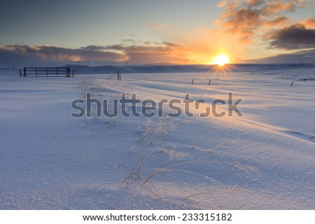 Arctic sunrise in South Iceland.Close to Reykjavik city/Winter Sunrise in Snowy Iceland - stock photo