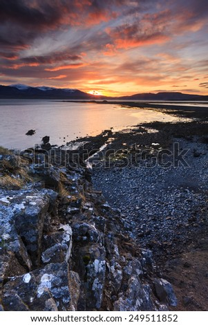Arctic sunset in South Iceland.Close to Reykjavik city. Hvalfjordur./ Arctic sunset - stock photo