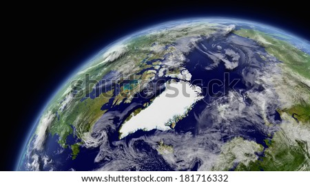 Arctic viewed from space with atmosphere and clouds. Elements of this image furnished by NASA. - stock photo
