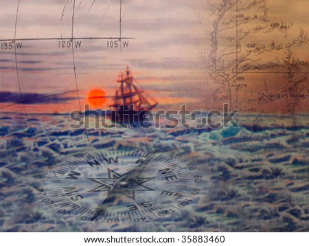 Arctic voyage Arctic ship in abstract with navigational theme. Base illustration from out of copyright book. - stock photo