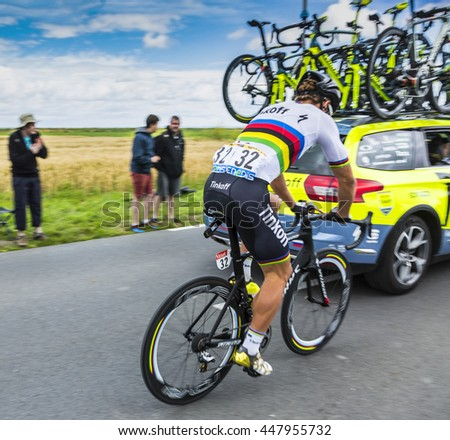ARDEVON, FRANCE- JUL 2:The Slovak cyclist Peter Sagan of Tinkoff Team taking the start of Tour de France at Km 0, close to Mont Saint Michel Monastery, in Ardevon,France on July 2,2016.