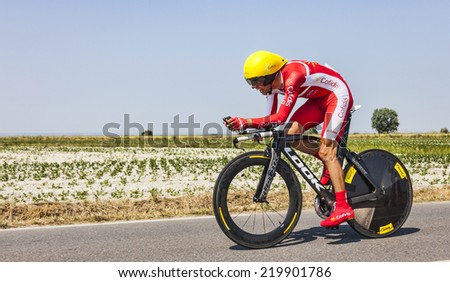ARDEVON,FRANCE-JUL 10:The Spanish cyclist Daniel Navarro Garcia from Team Cofidis cycling during the stage 11(time trial Avranches -Mont Saint Michel) of Le Tour de France on July 10, 2013 - stock photo