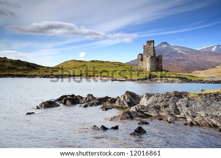 Ardvreck Castle on the shore of Loch Assynt, Scotland - stock photo
