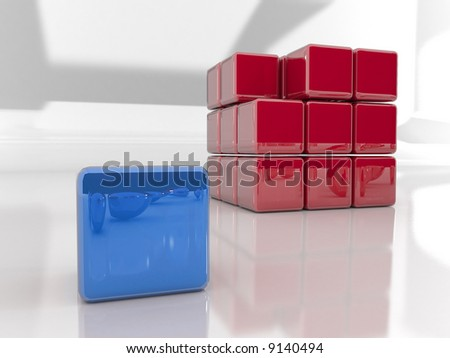 are you  different?. 3d rendered puzzle cube - stock photo
