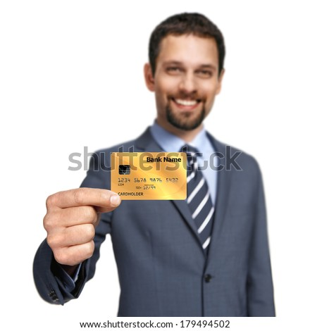 Are you ready to shop / banker showing cash card - isolated on white background  - stock photo