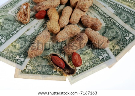 Are you working for peanuts? That's what some companies offer. Perhaps its time for another job or to go-it-alone. - stock photo