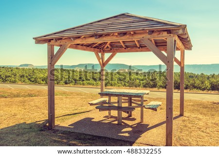 area rest alongside highway picnic table stock photo 488332255 ...
